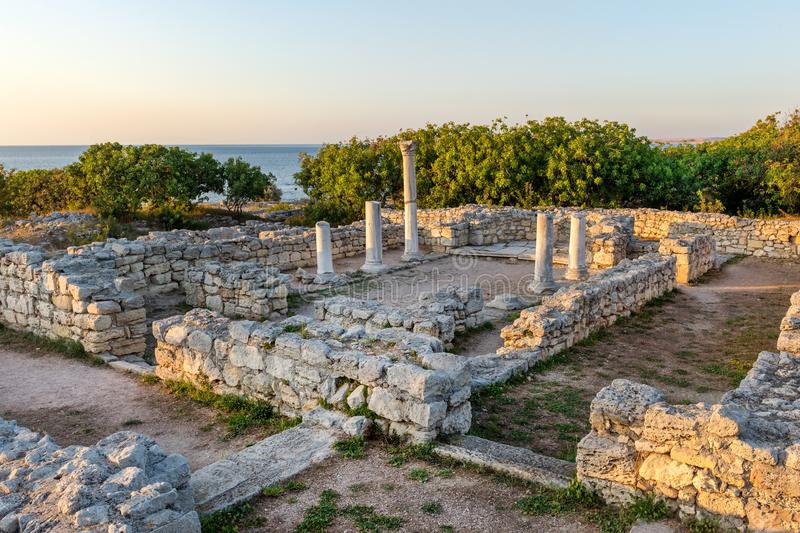 Creek colony Chersonesos. Ancient Basilica-in-Basilica complex of Creek colony Chersonesos in Sevastopol, Crimea at sunset stock images