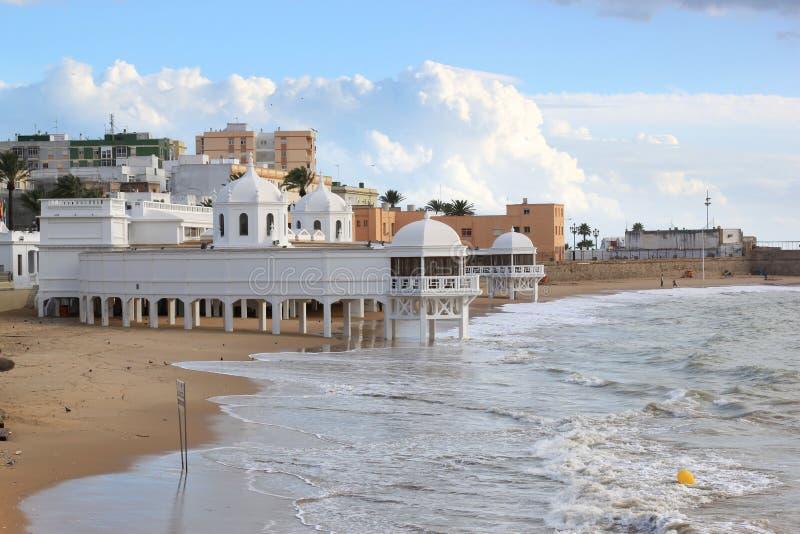 Ancient Baths At The Beach Of Cadiz, Spain Stock Photography