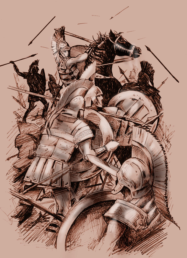 Download Ancient battle stock illustration. Image of monochrome - 7388943