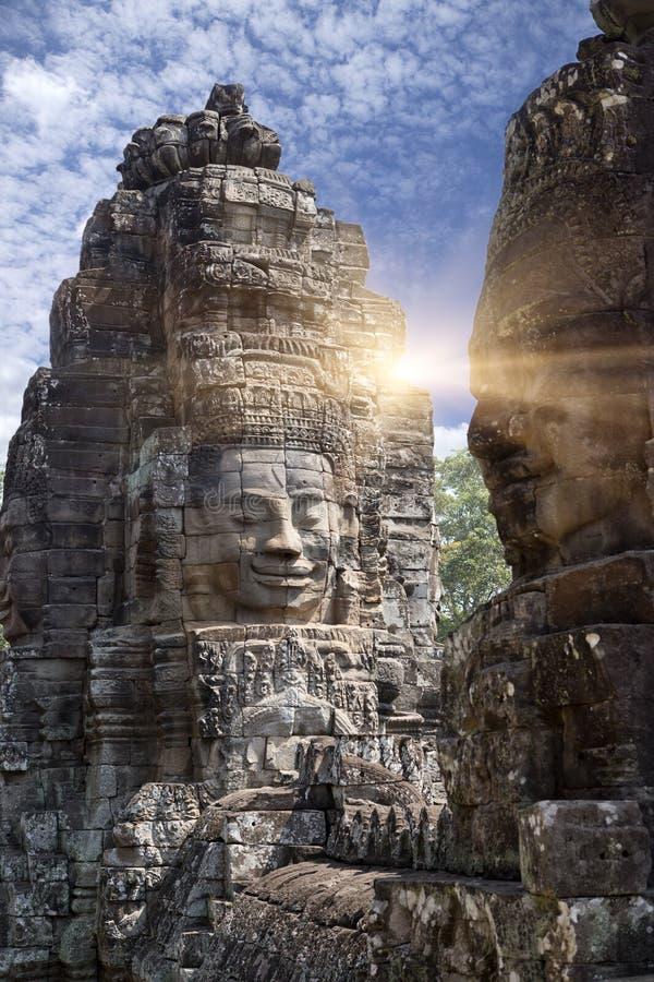 Ancient Bayon Temple 12th century At Angkor Wat, Siem Reap, Cambodia.  stock image