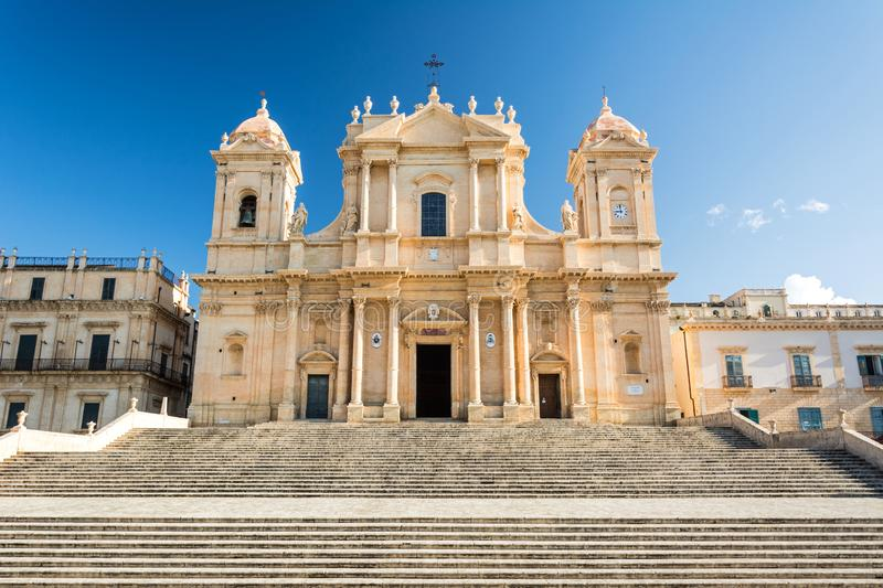 Ancient beautiful baroque cathedral in Noto, Sicily, Italy royalty free stock photo