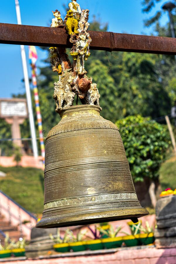 Ancient Bell of Buddhism used by Buddhist royalty free stock photography