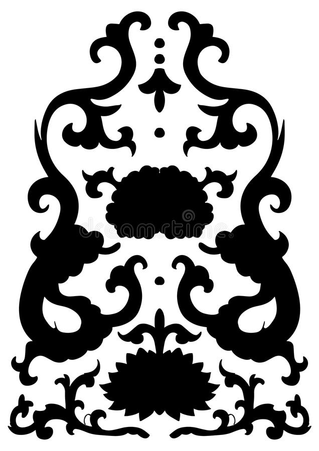 Ancient black Chinese ornament with dragons and flowers royalty free illustration