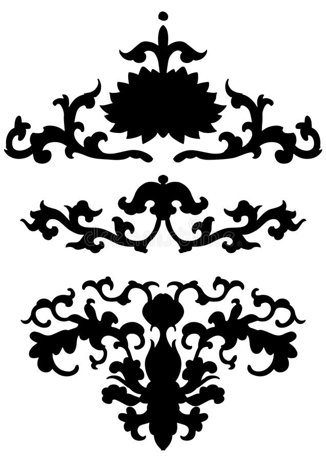 Ancient black Chinese ornament with flowers. Vector isolated set of asian decoration elements vector illustration