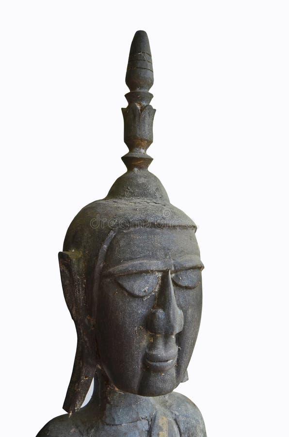 Ancient black craven wooden Buddha image royalty free stock photos
