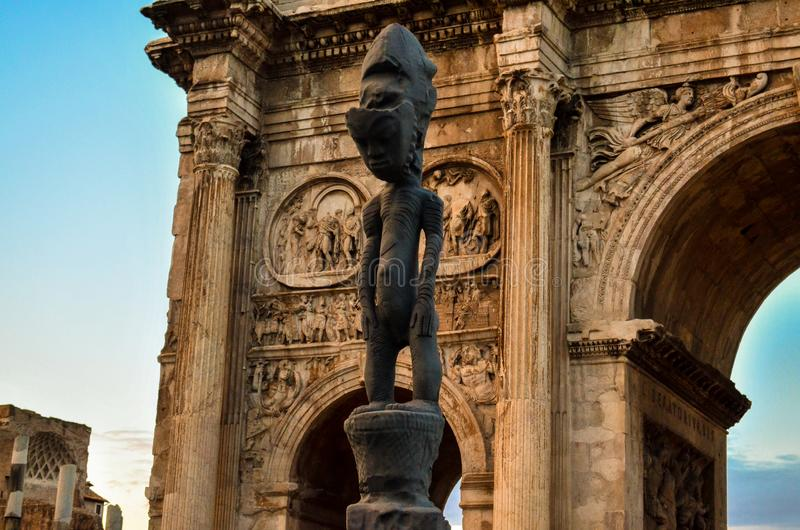 Strange sculpture near the Arch of Constantine. Rome, Italy royalty free stock photo