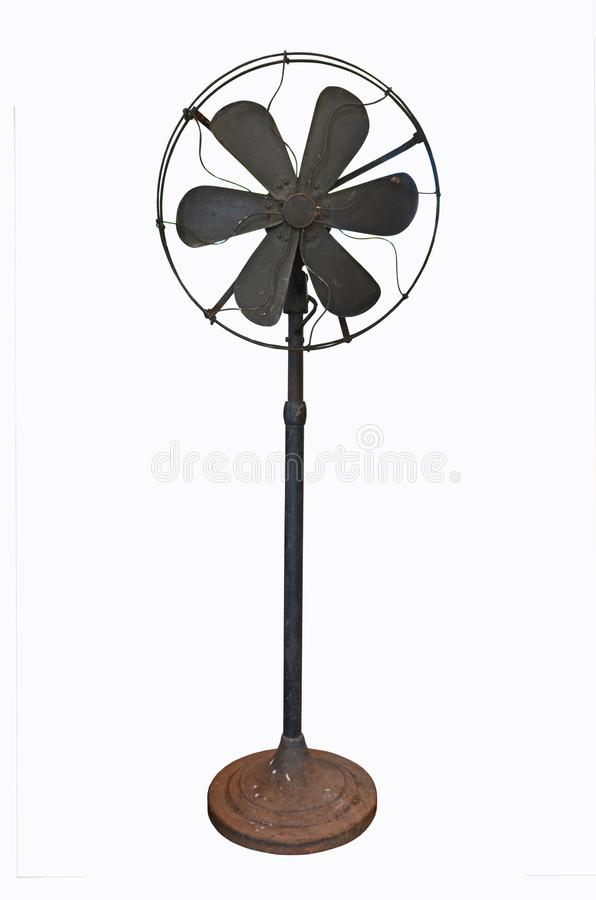 Ancient black  steel electric fan with high pole royalty free stock photos