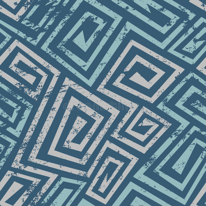 Ancient blue spiral seamless pattern with grunge effect vector illustration