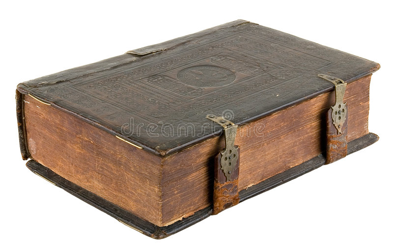 The ancient book. In leather reliure on a light background stock images