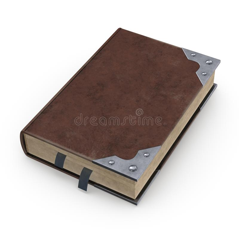 Ancient book in brown leather binding with bookmarks. The image size is 4096x4096 pixels. This image is a 3D model rendering vector illustration