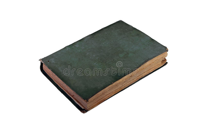Ancient book green cover on white background with clipping path royalty free stock images