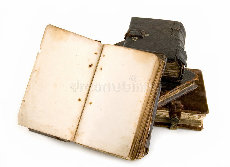 The ancient books. On a light background stock photos