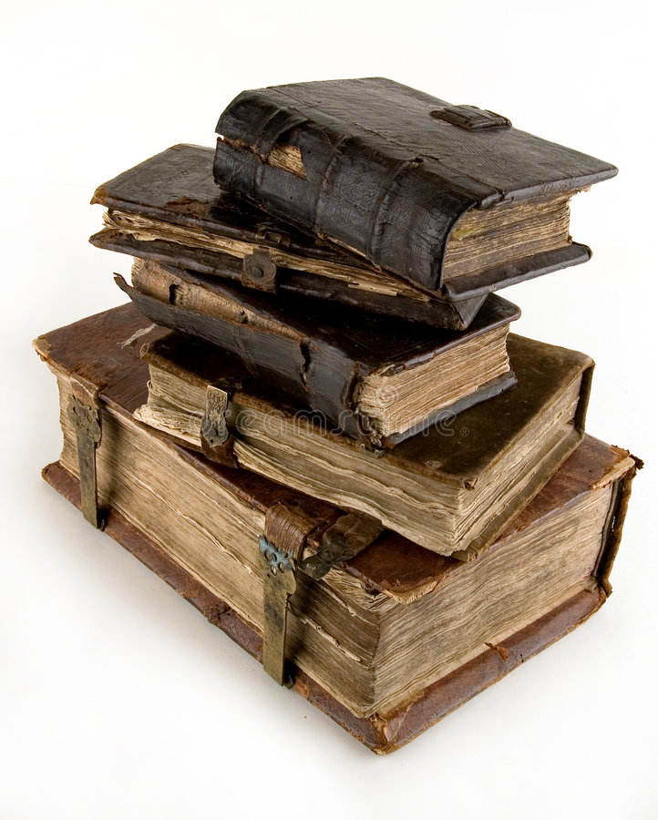 The ancient books. On a light background stock photo