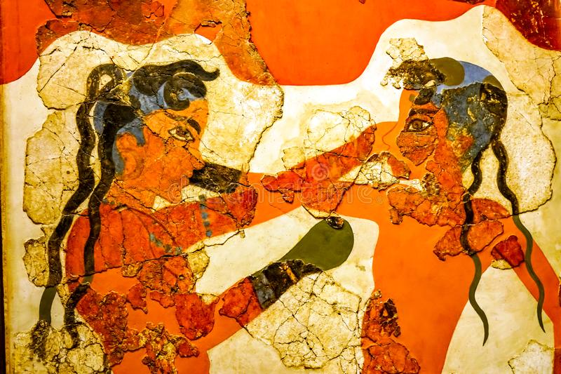 Ancient Boxers Children Fresco National Archaeological Museum At royalty free stock image