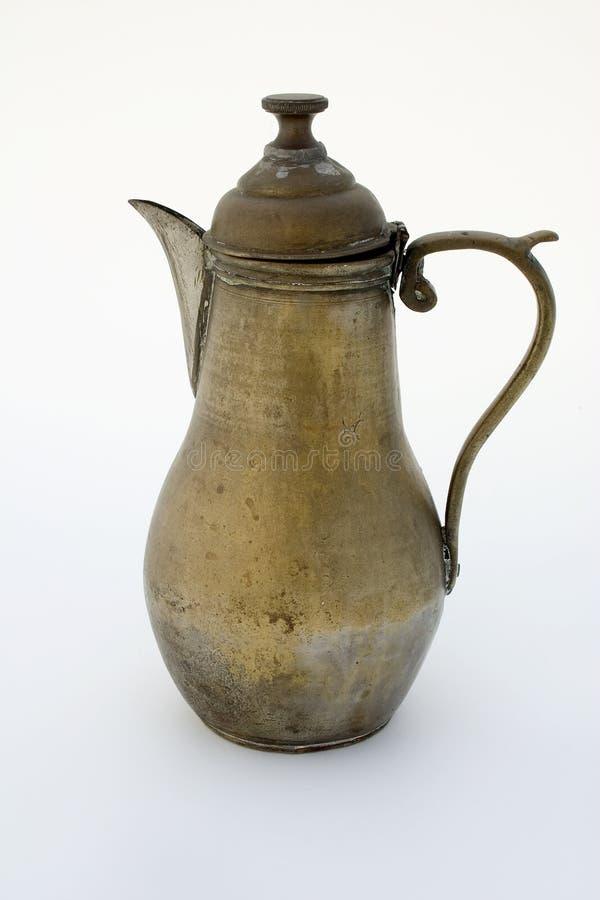 Ancient brass coffee pot stock photo