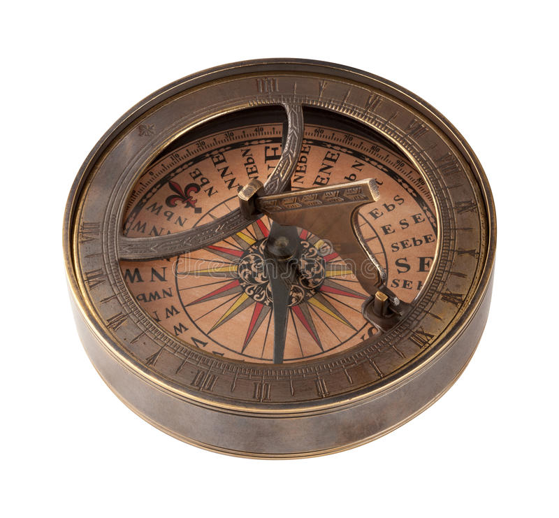 Ancient Brass Compass and Sundial stock photos