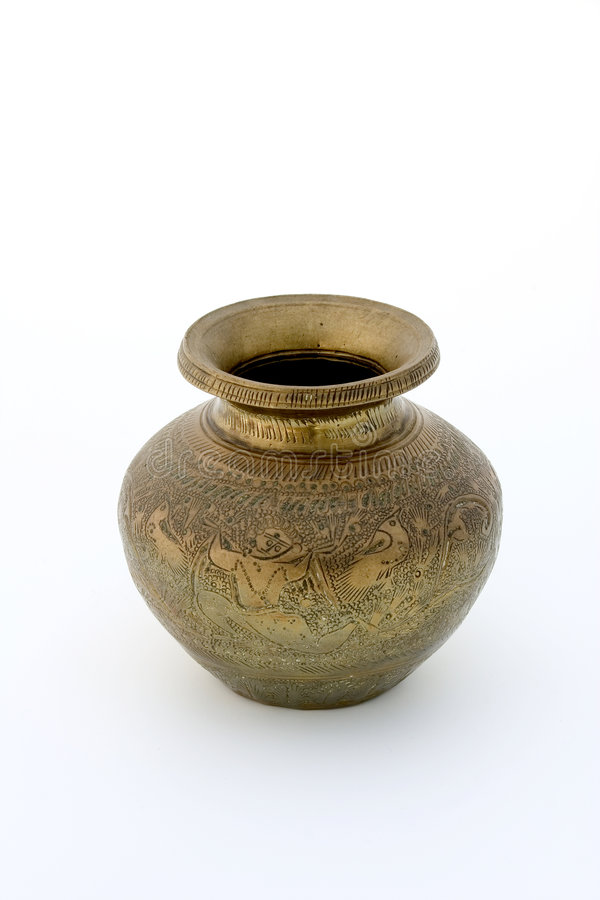 Download Ancient brass vase stock image. Image of metal, kitchenware - 1421707