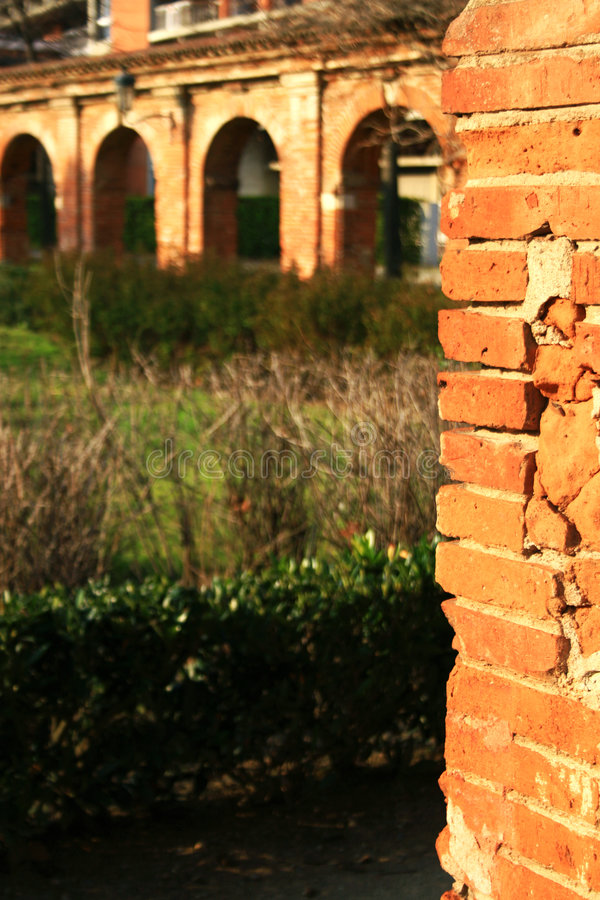 Ancient brick arch royalty free stock photography