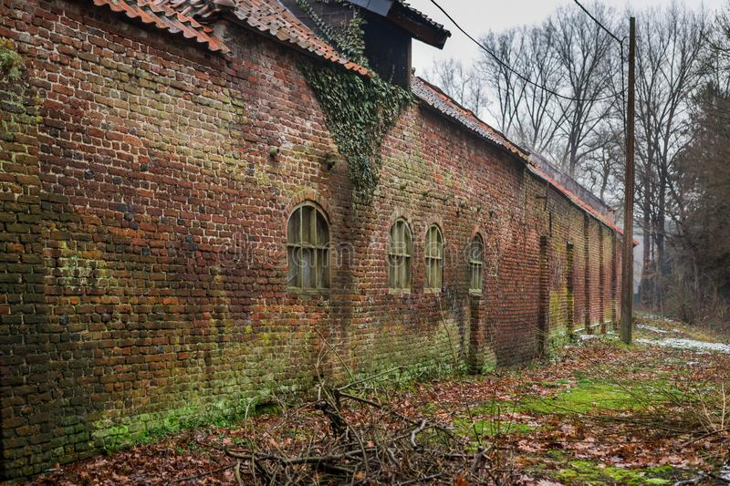 Ancient brick building covered with moss royalty free stock photos