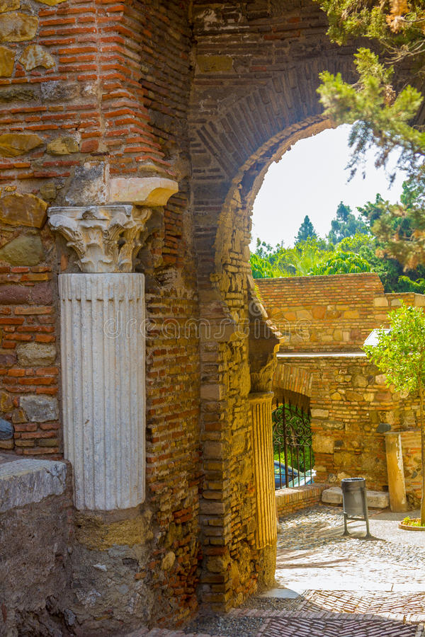 Ancient brick passageway door in the famous La Alcazaba in Malaga Spain royalty free stock images