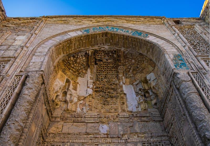 Ancient brick wall and arch as a part of carpet weaving museum building, Bukhara, Uzbekistan stock image