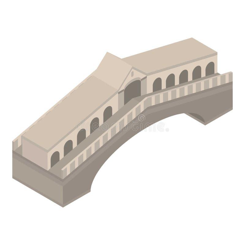 Ancient bridge icon, isometric style vector illustration