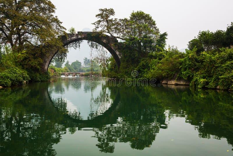 Ancient bridge over Yulong river at Yangshuo. Guilin, Guangxi province, China, with big ancient trees stock photo