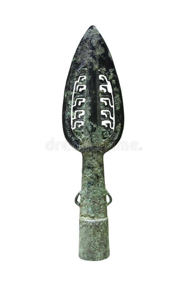 Ancient bronze spear stock image