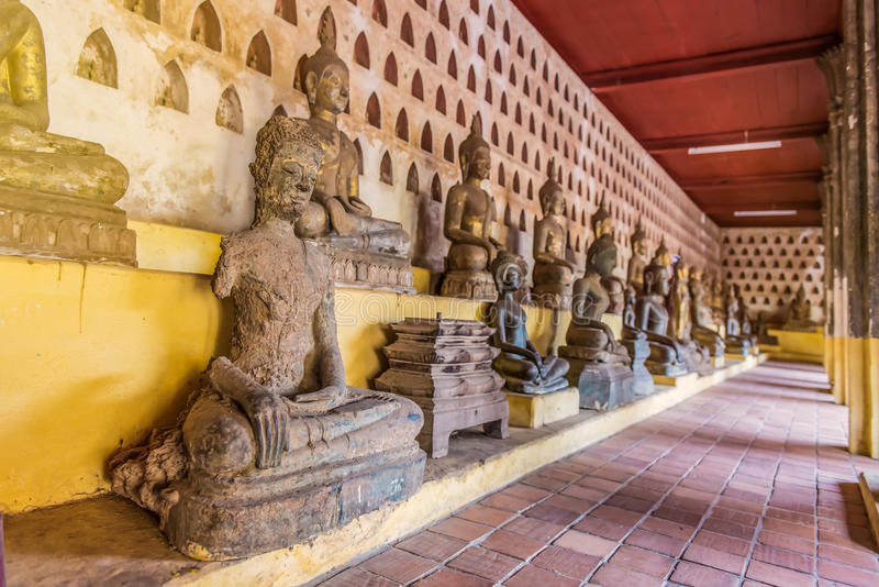 Ancient Buddha Art in wat Sisaket, Vientiane, Laos.  royalty free stock photo