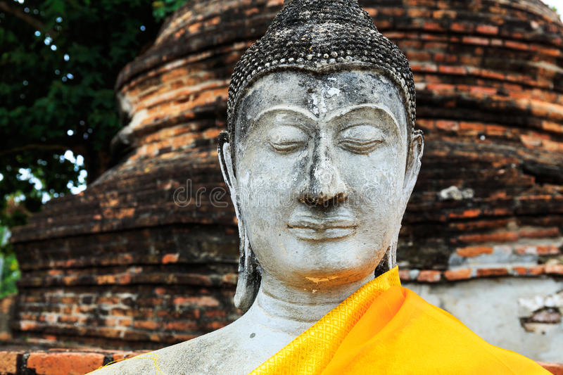 Download Ancient Buddha in Ayuthaya stock image. Image of gown - 33182445