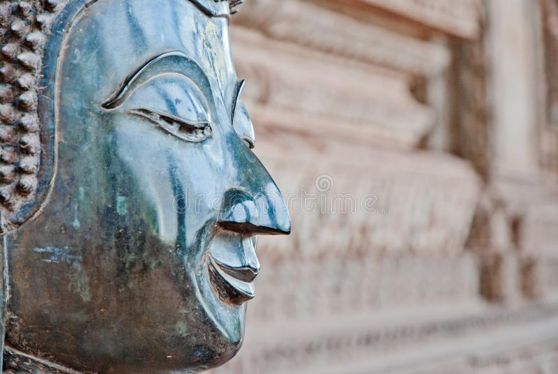 Buddha statue head with copy space royalty free stock image