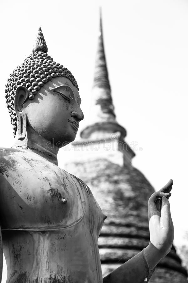 An ancient Buddha image, black and white royalty free stock photography