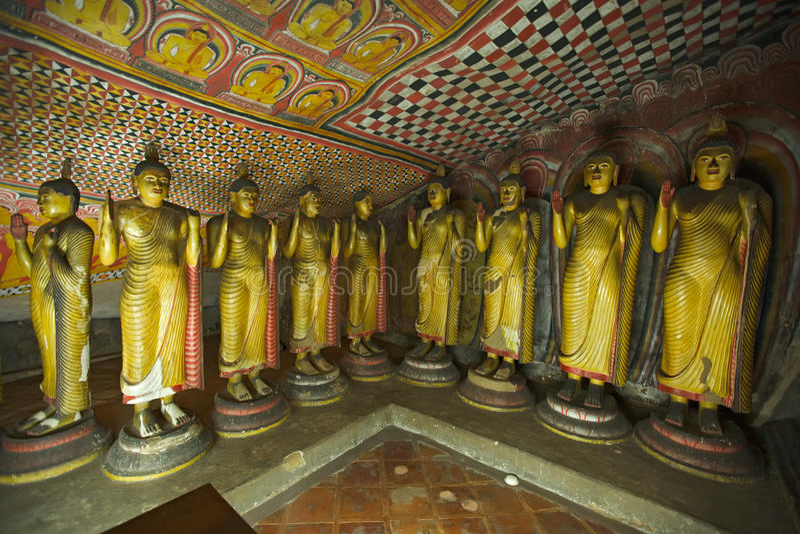 Ancient Buddha images. In Dambulla Rock Temple caves, Sri Lanka royalty free stock photos