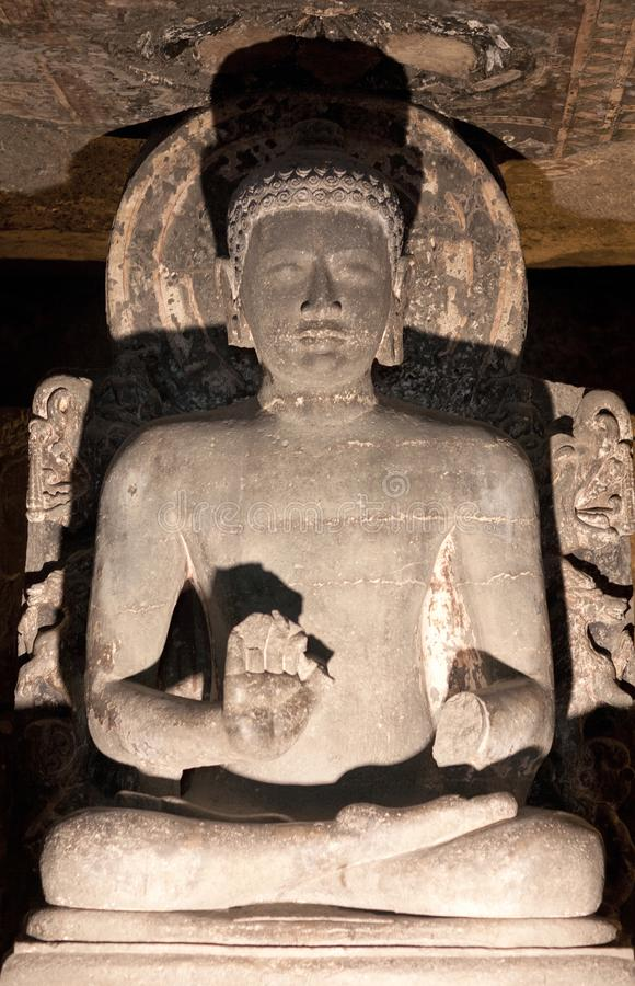 Ancient Buddha statue in Ajanta caves, India. The Ajanta Caves in Maharashtra state are about 30 rock-cut Buddhist cave monuments which date from the 2nd royalty free stock images