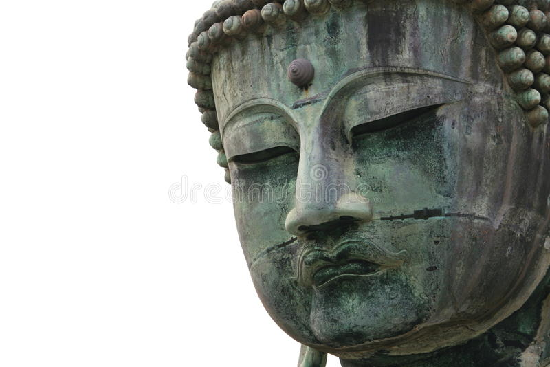Ancient Buddha statue face stock photo