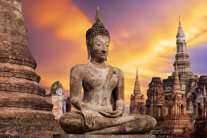 Ancient Buddha Statue at Sukhothai historical park, Mahathat Temple ,Thailand. Ancient Buddha Statue at Sukhothai historical park, Mahathat Temple ,Thailand stock images