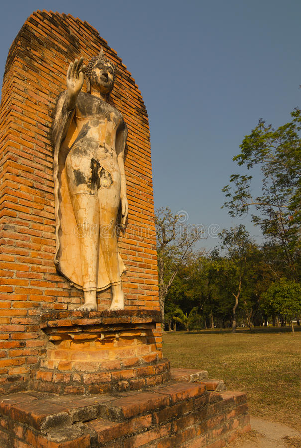 Ancient buddha statue at Sukhothai Historical Park, Thailand. Detail of ancient buddha statue at Sukhothai Historical Park, Thailand stock images