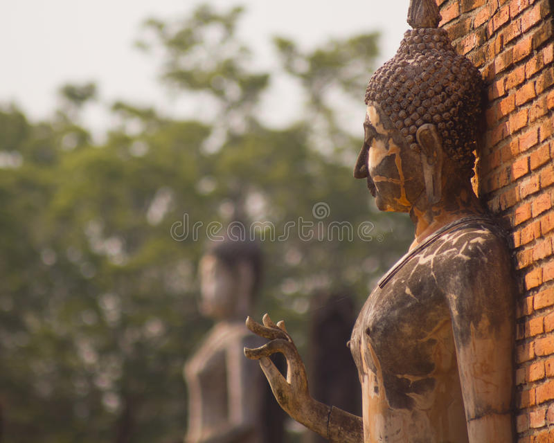 Ancient buddha statue at Sukhothai Historical Park, Thailand. Detail of ancient buddha statue at Sukhothai Historical Park, Thailand royalty free stock image