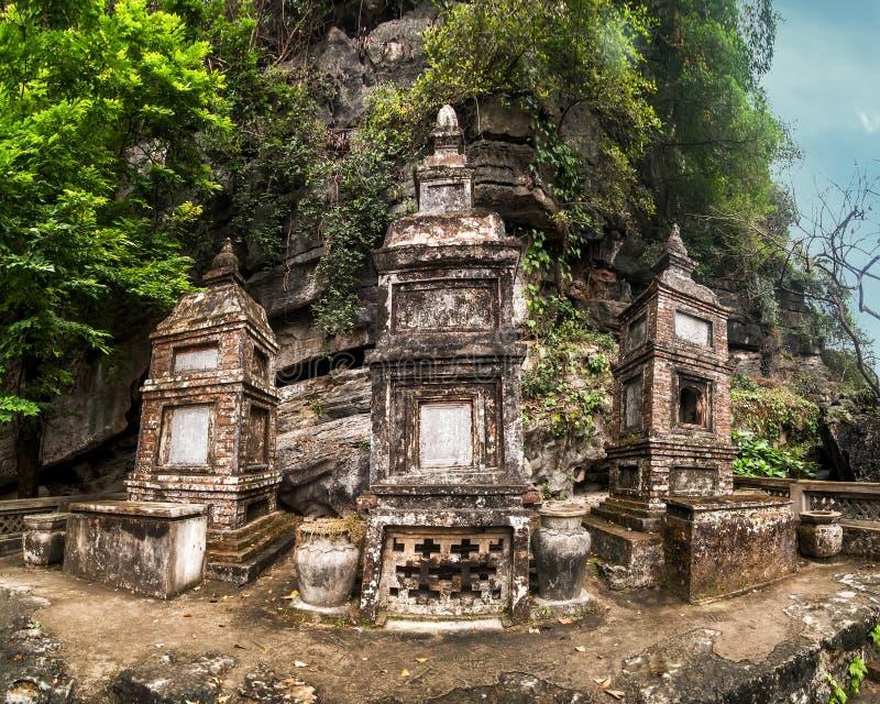 Ancient buddhist pagoda Bich Dong. Ninh Binh, Vietnam royalty free stock photos