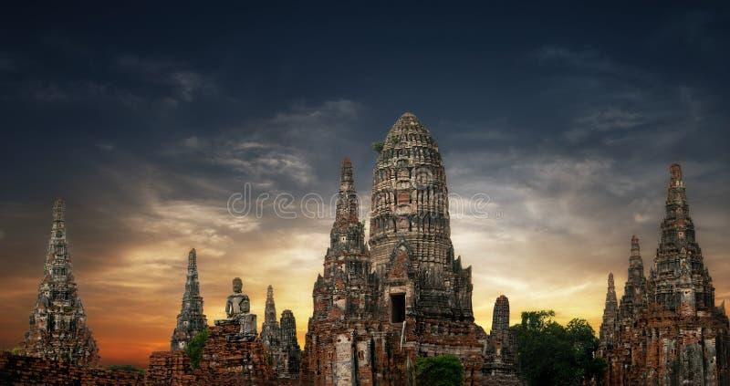 Ancient Buddhist pagoda ruins panorama. Ayutthaya, Thailand stock photo