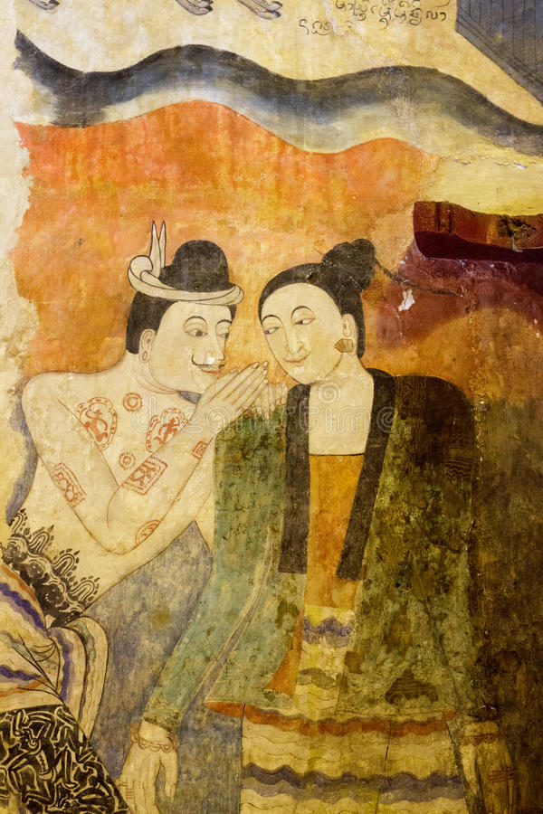 Ancient Buddhist temple mural depicting a Thai daily life royalty free stock images