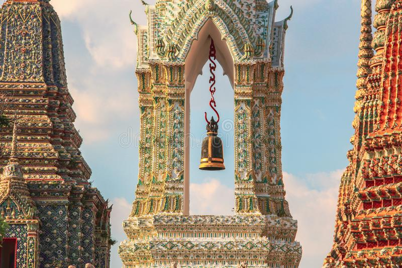 Buddhist temple with ancient stupa in Bangkok, Thailand royalty free stock images
