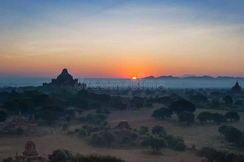 Ancient Buddhist Temples of Bagan Kingdom at sunrise. Myanmar royalty free stock images