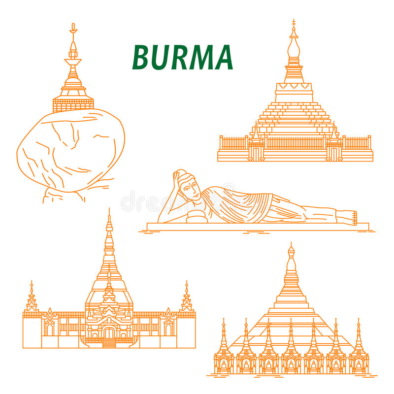 Ancient Buddhist Temples Of Burma Thin Line Icons Stock Vector