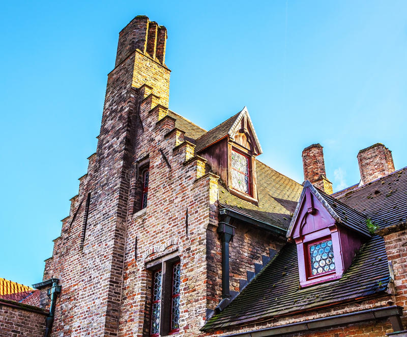 Ancient building of medieval Brugge, Belgium.  royalty free stock images
