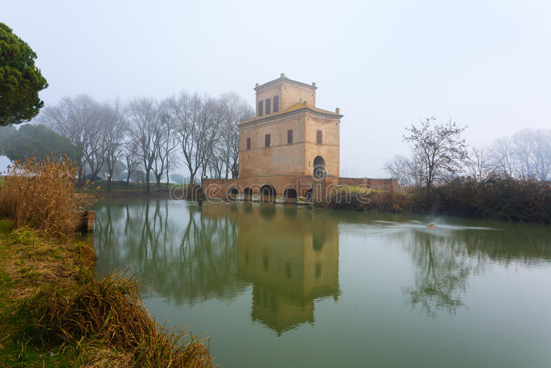 Ancient building from Po river lagoon, Italy. Ancient building from Po river lagoon. Po Delta wetlands landmark. Italian travel destination royalty free stock image