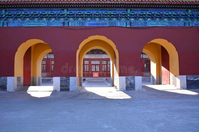 Ancient buildings in Beijing Park. His is the ancient architecture of Beijing Park, a long history, the Qing Dynasty architecture, preserved intact stock photography