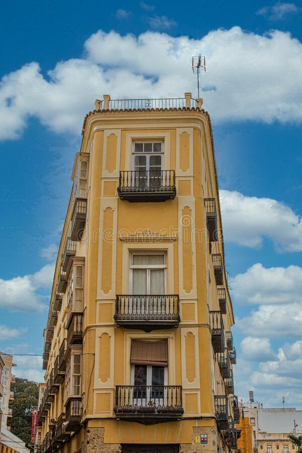 Yellow Stucco Apartments in Cartegena stock images