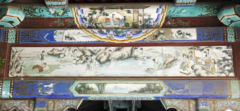 Ancient buildings decoration stock images