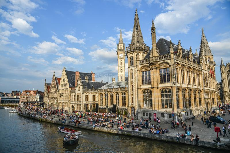 Ancient buildings in Gent, Belgium royalty free stock photography